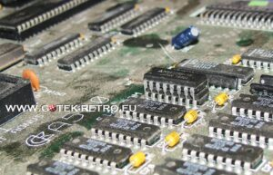 Close up of a piggybacked Ram Chip in the Amiga 500